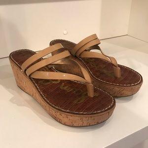 """""""Sam Edelman"""" Strappy Nude Wedge Sandals"""
